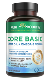 Core Basic Daily – Omega-3 Fish Oil + CBD-Packed Hemp Oil – 60 soft gels